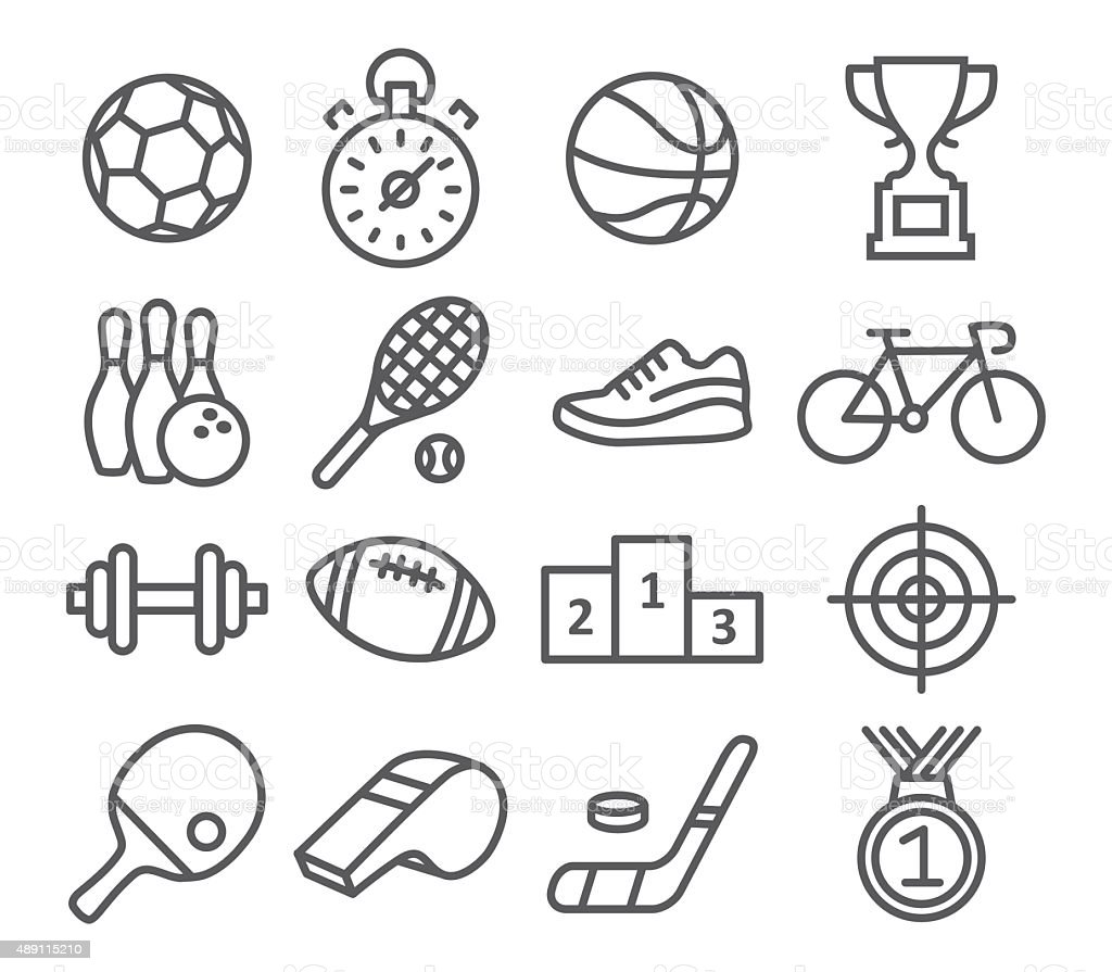 Sport icons in trendy linear style vector art illustration