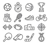 Sport icons in trendy linear style