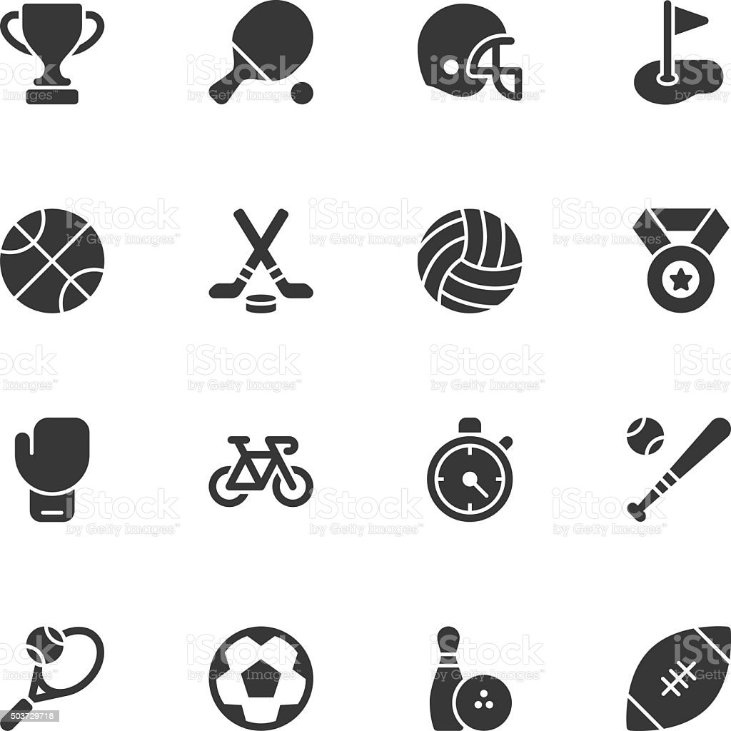 Sport icons - Regular vector art illustration