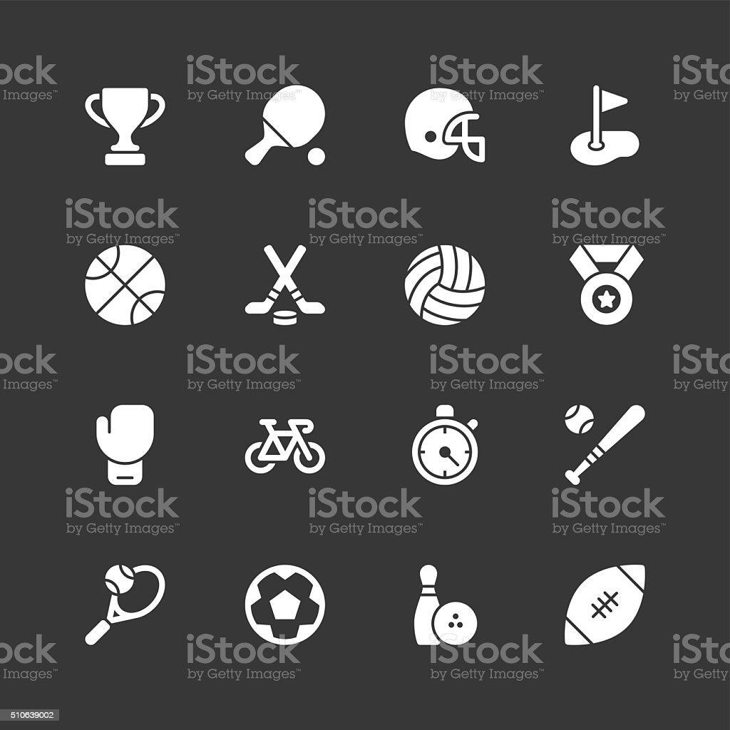 Sport icons - Regular - White Series vector art illustration