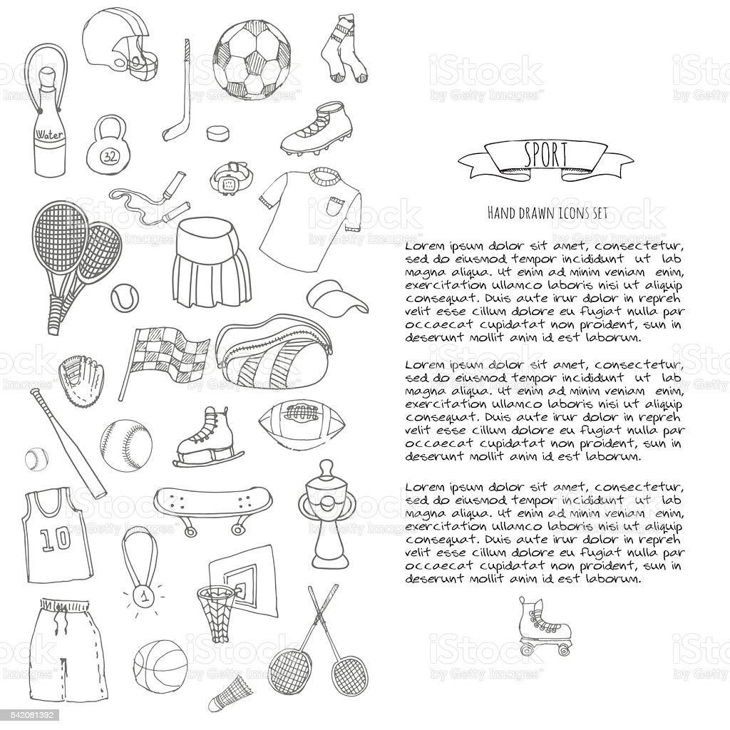 Sport icons set vector art illustration