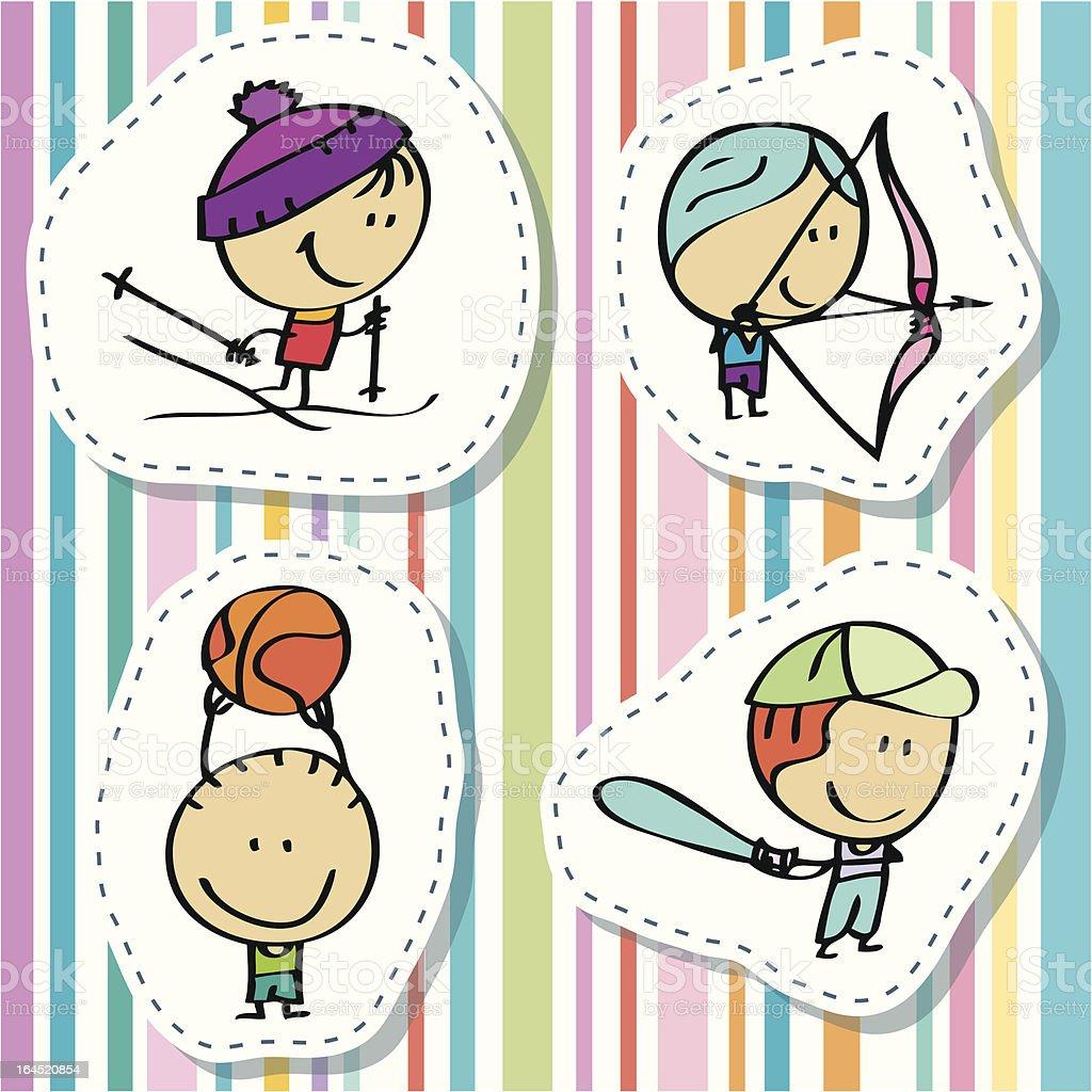 Sport kids vector art illustration