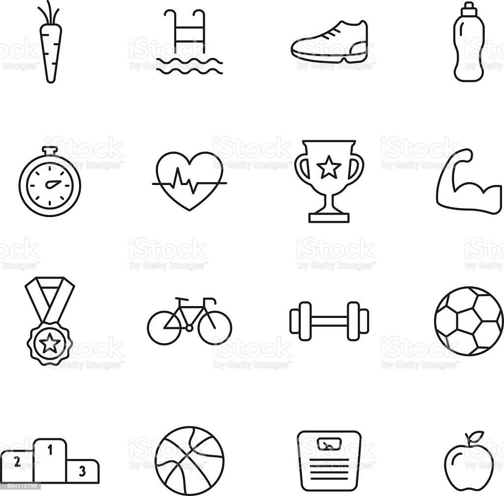 Sport Line Icons vector art illustration