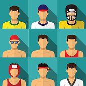 Sport men icons in flat style with long shadow