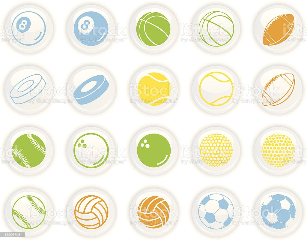 Sport on White Buttons royalty-free stock vector art