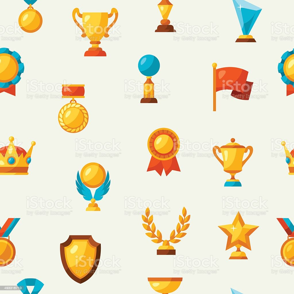 Sport or business seamless pattern with award icons vector art illustration