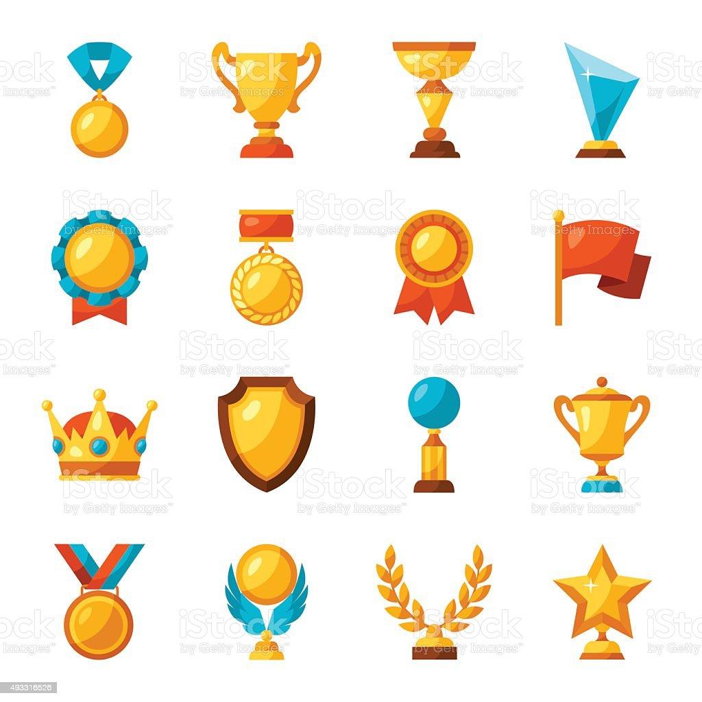 Sport or business trophy award icons set vector art illustration