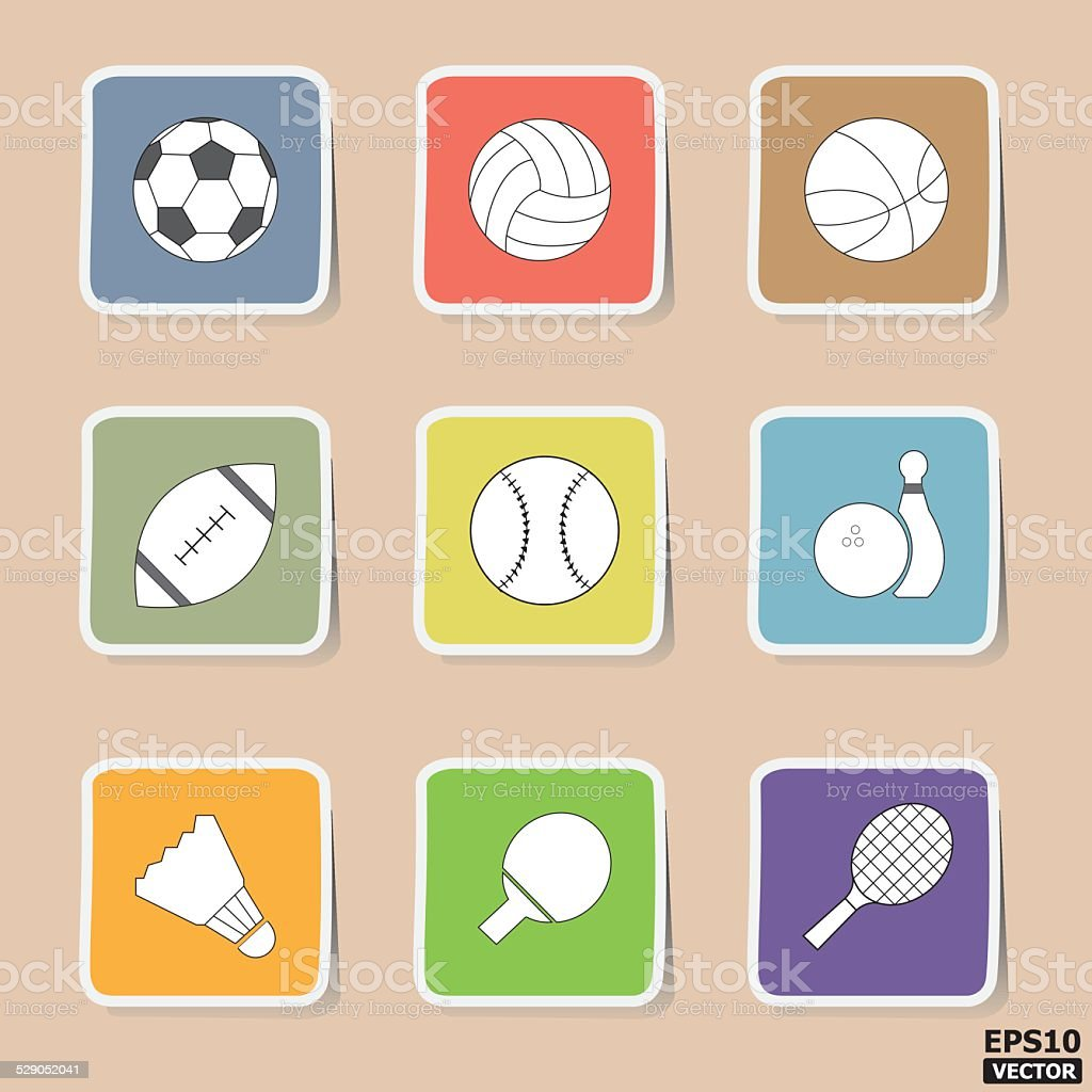 Sport paper icons or symbols set. -eps10 vector