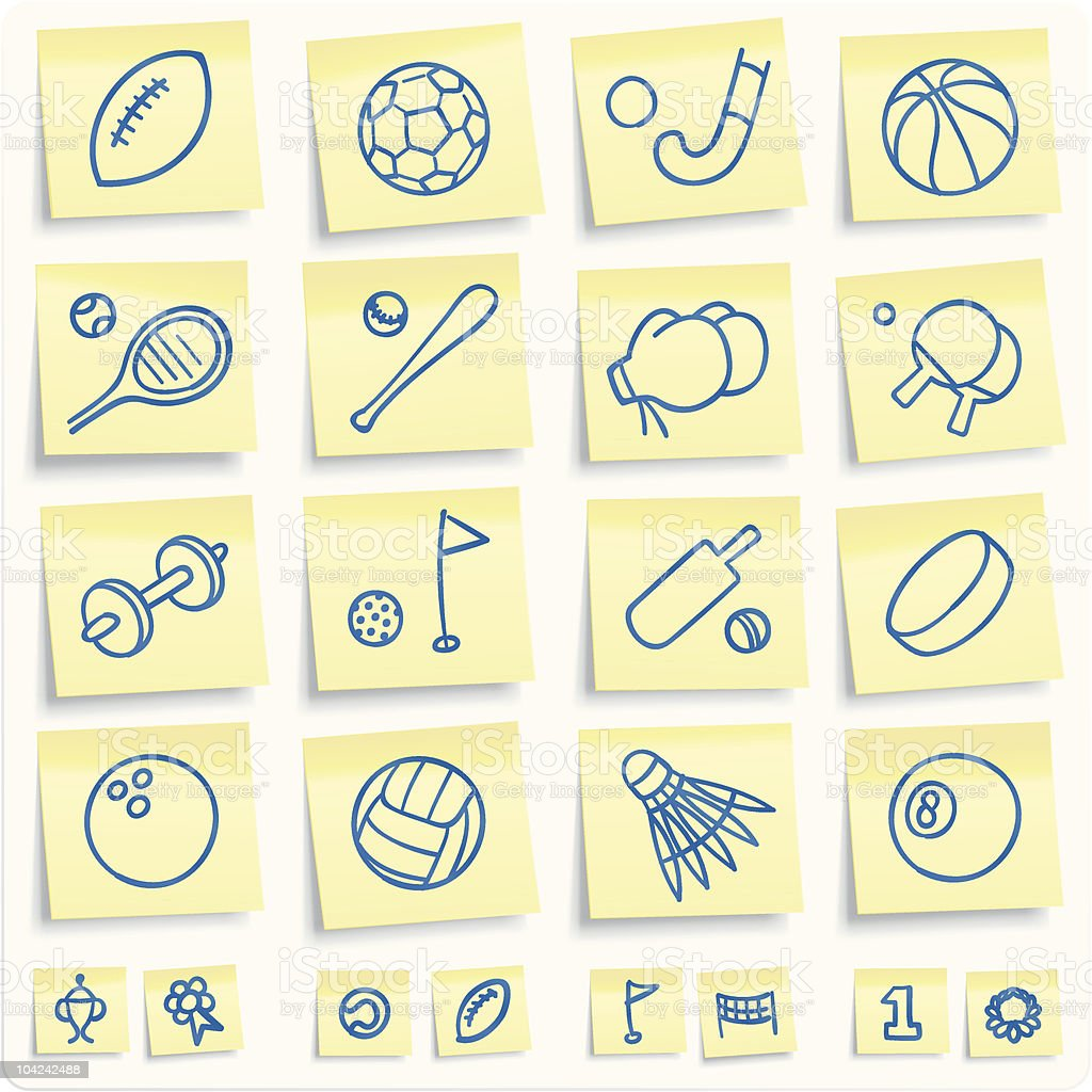 Sport post-it notes royalty-free stock vector art