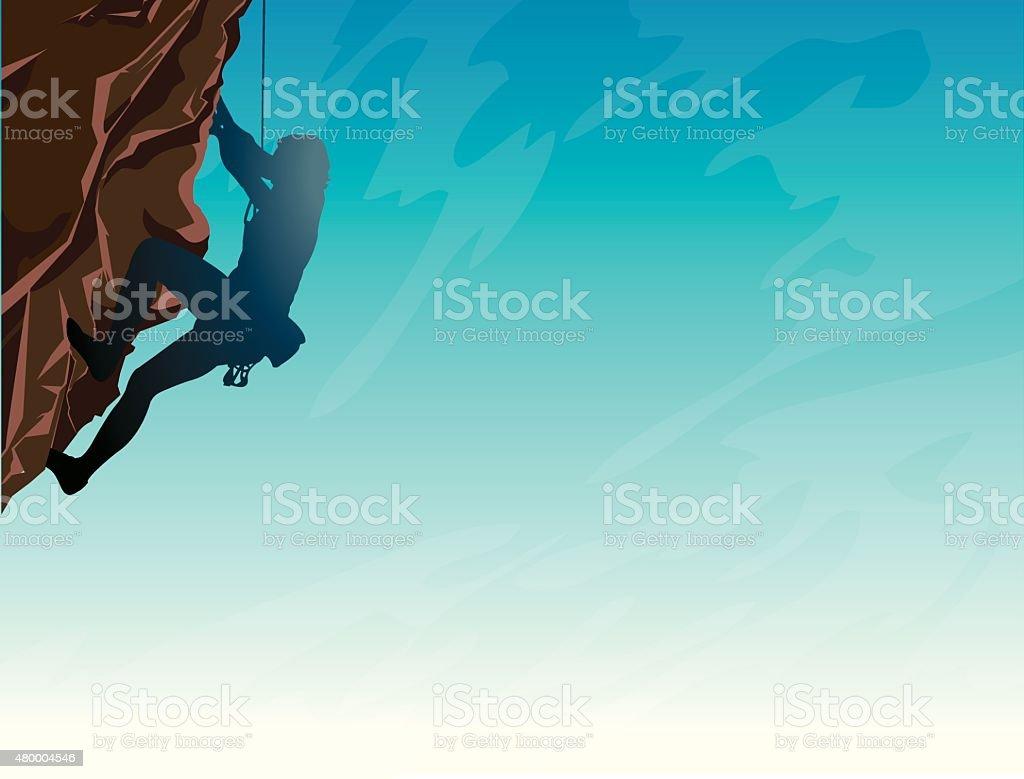 Sport - Rock climber and sky. vector art illustration