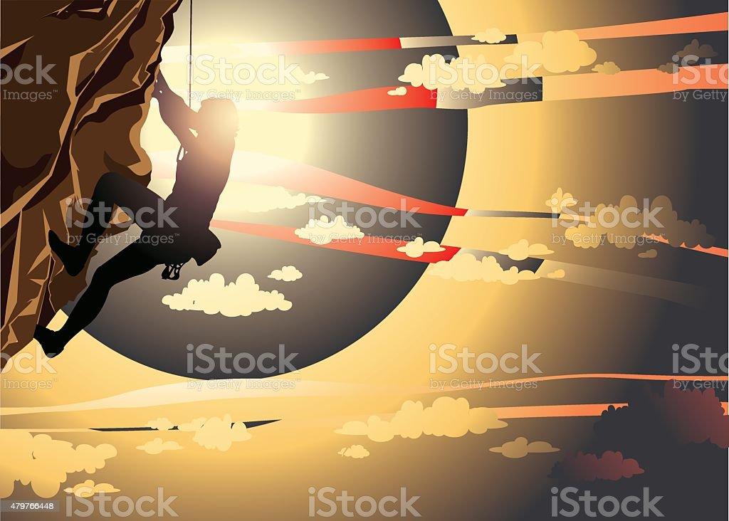 Sport - Rock climbing. vector art illustration