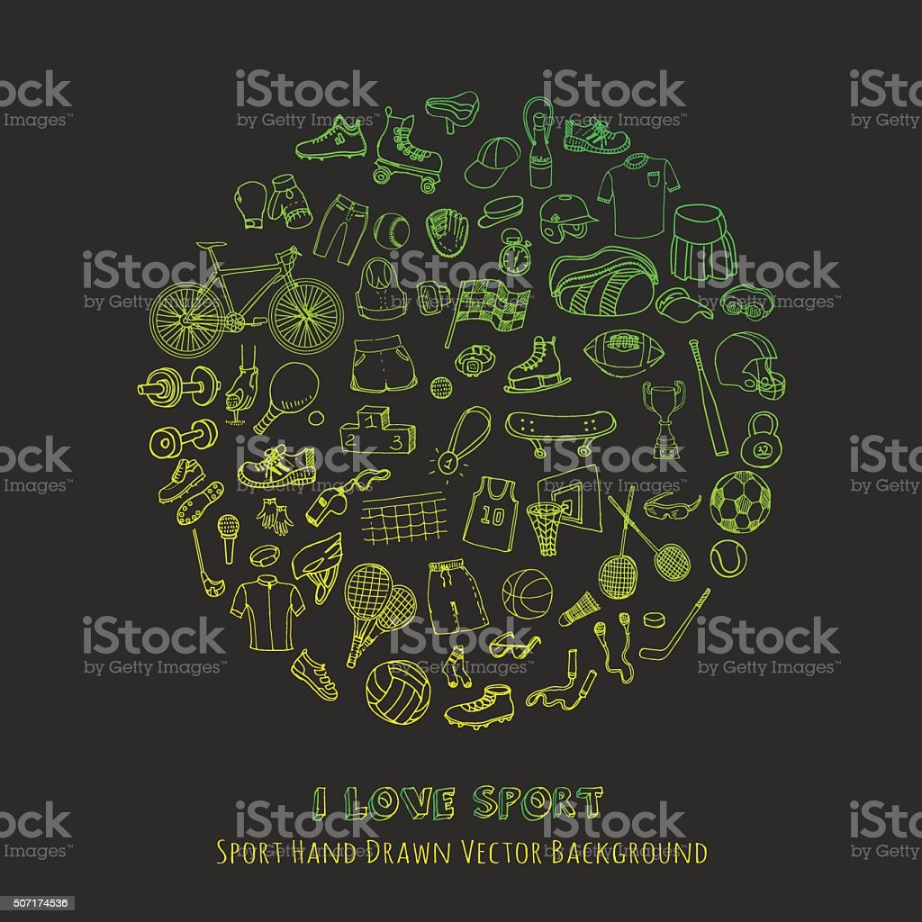 Sport set vector art illustration