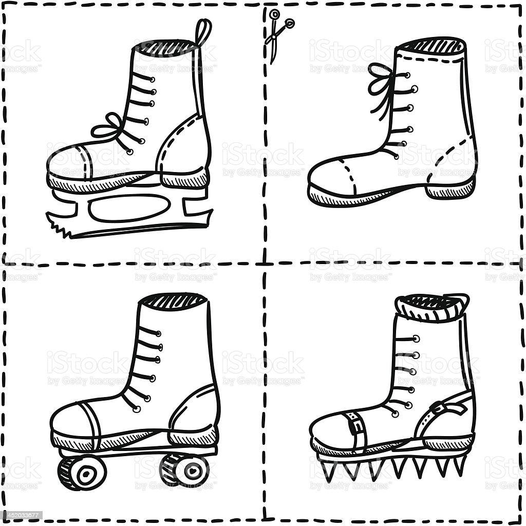 Sport shoes doodle set. royalty-free stock vector art