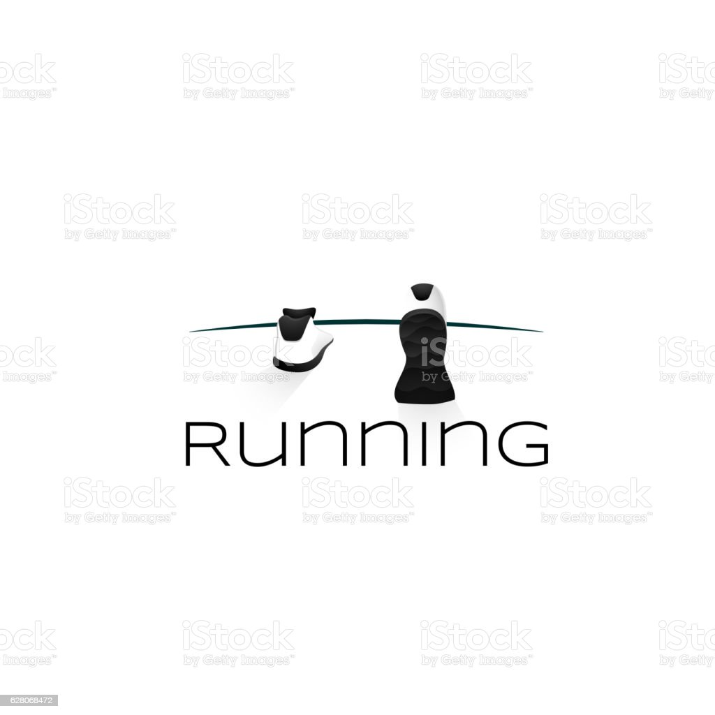 Sport shoes, wellness running concept logo vector art illustration