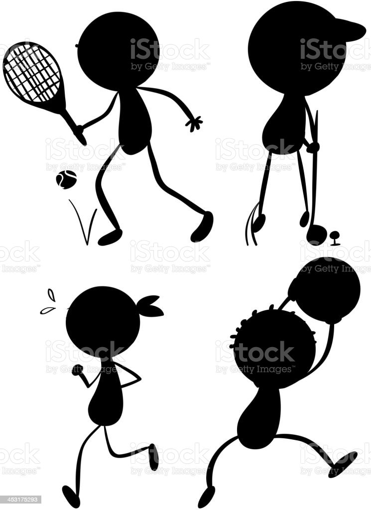 Sport silhouettes royalty-free stock vector art