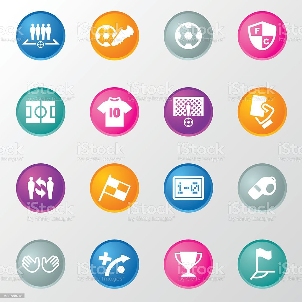 Sport Soccer Circle Color Icons vector art illustration