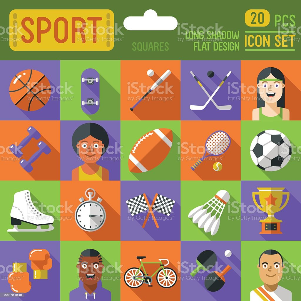 Sport squares icon set. Long shadow flat design. Vector illustration. vector art illustration