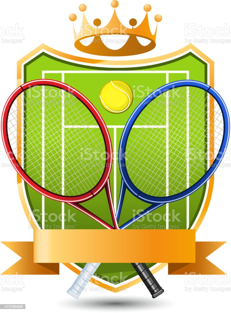 Sport Tennis green Field with racket and ball crowned Emblem vector art illustration