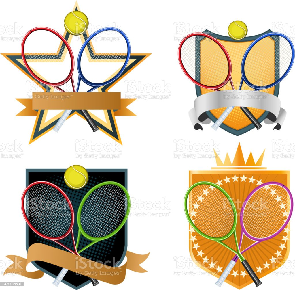 Sport Tennis racket ball emblem with star crown and banner royalty-free stock vector art