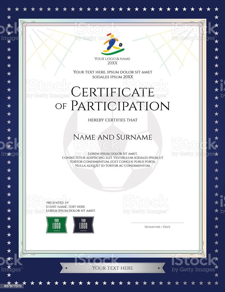 Sport Theme Certificate Of Participation Template For Football – Printable Certificate of Participation