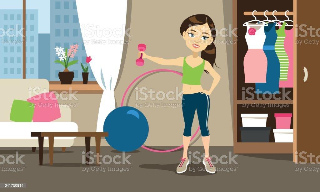 Sport training at home vector art illustration