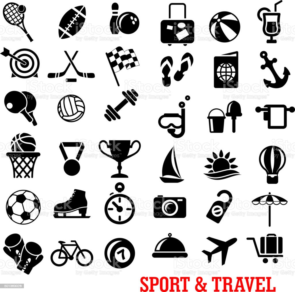 Sport, travel, tourism an recreation icons set vector art illustration