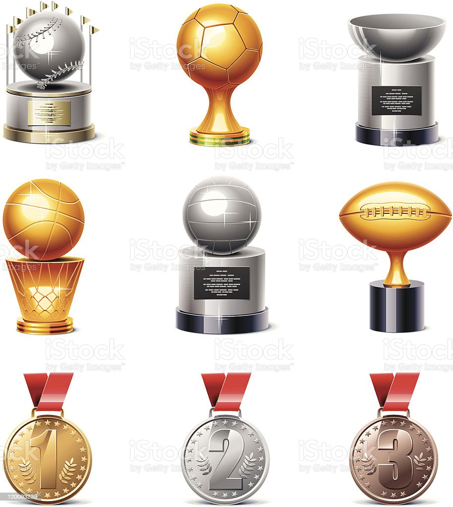 Sport trophies and medals icon set vector art illustration
