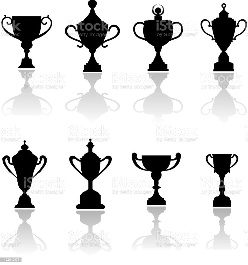 Sport trophies, awards and cups royalty-free stock vector art