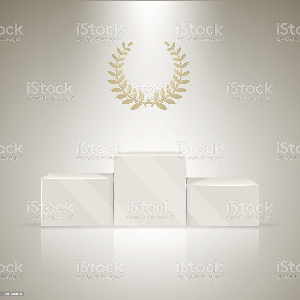 Sport winners pedestal with laurel wreath vector art illustration