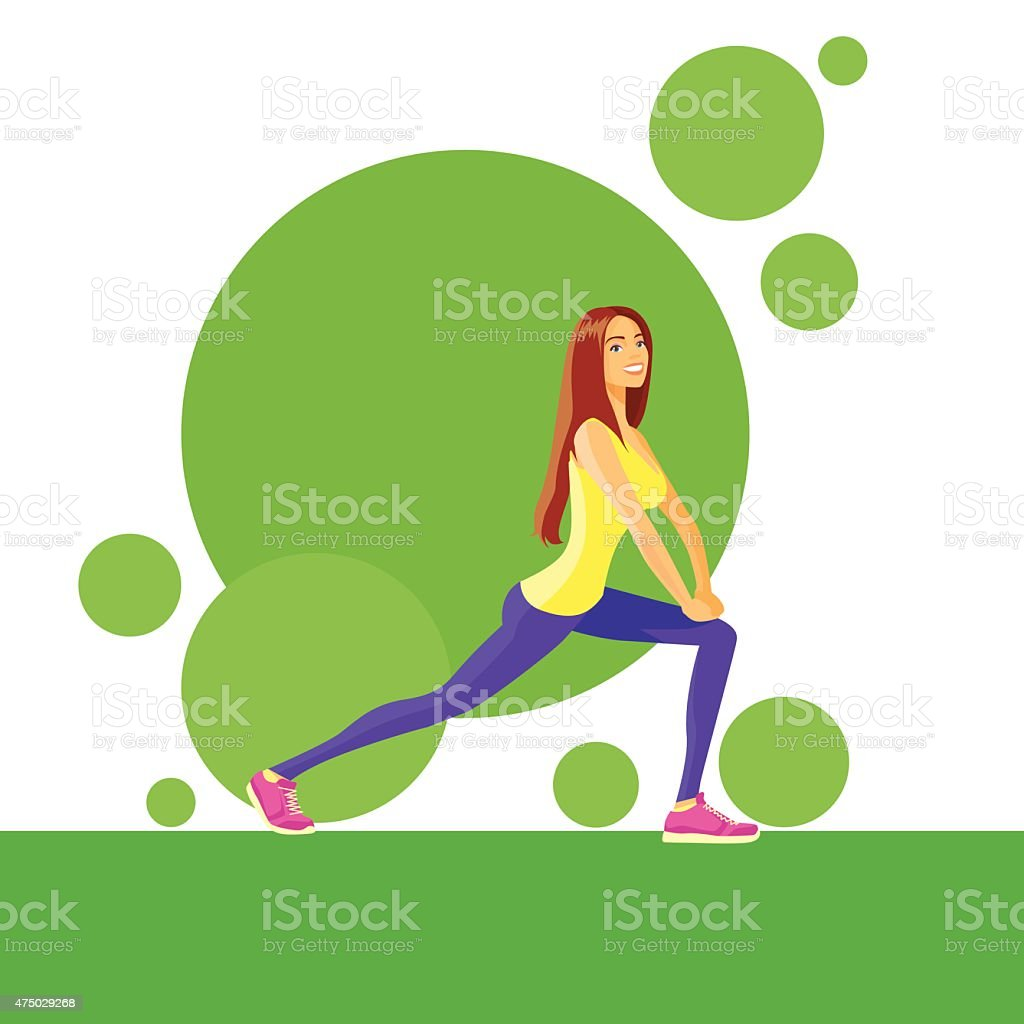 Sport Woman Fitness Girl Exercise Workout Trainer vector art illustration