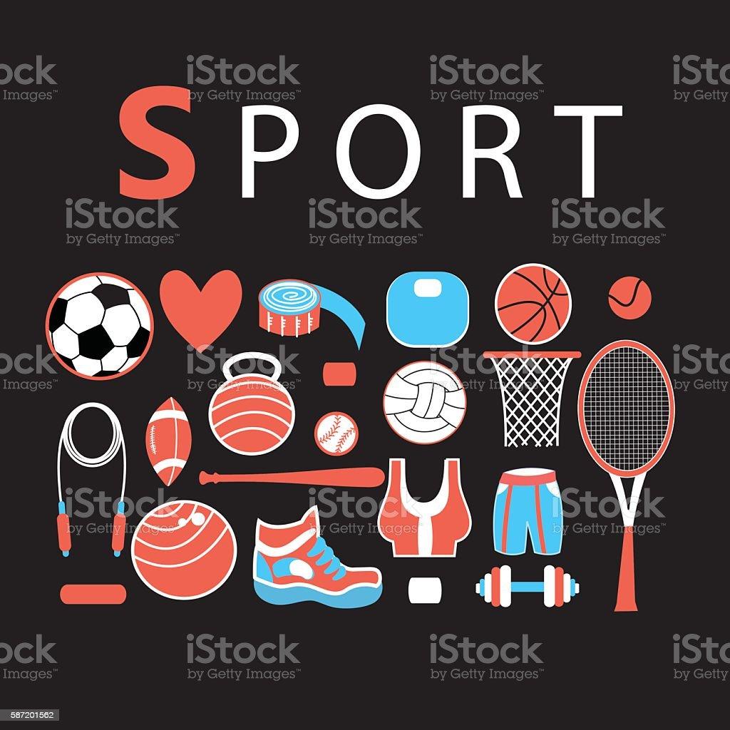 Sporting bright set vector art illustration