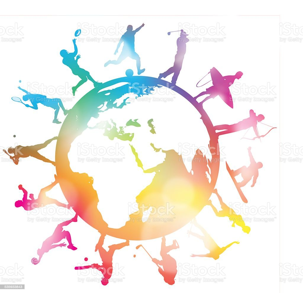 Sporting Globe Silhouettes vector art illustration