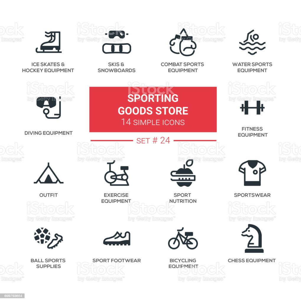 Sporting goods store - modern simple icons, pictograms set vector art illustration
