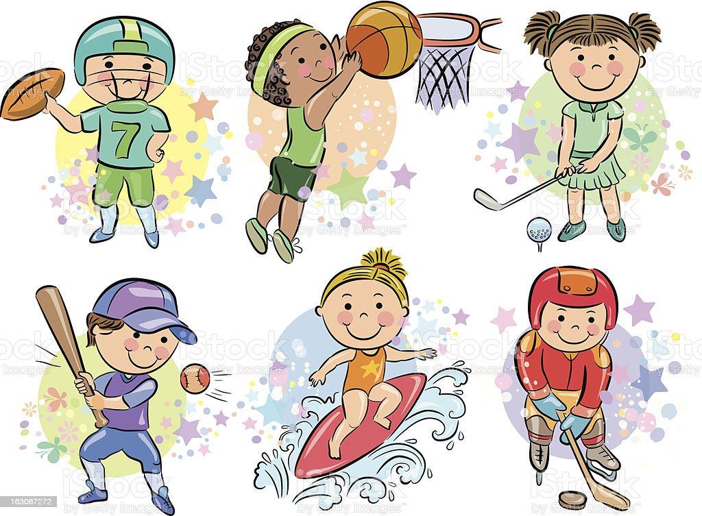 Sporting kids royalty-free stock vector art