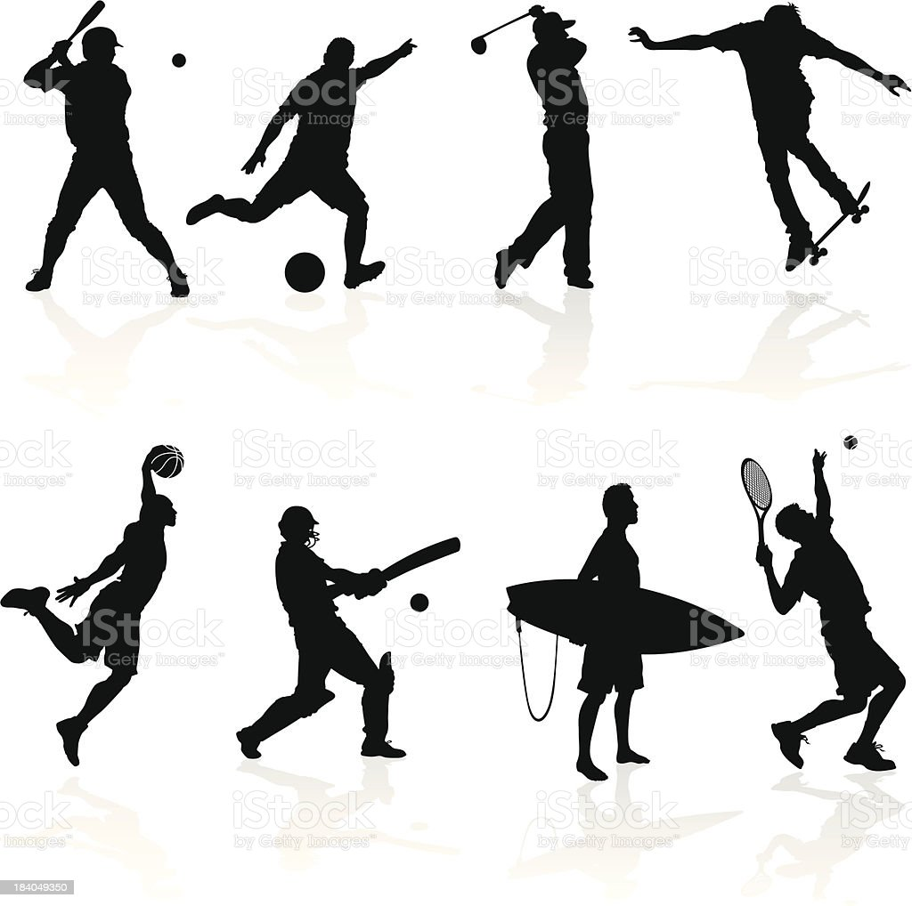 Sporting Silhouettes royalty-free stock vector art