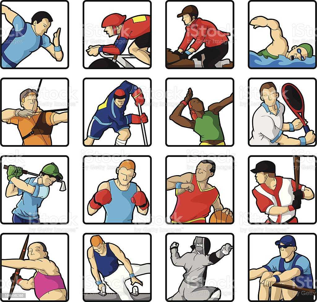 Sports | 16 Olympic disciplines royalty-free stock vector art