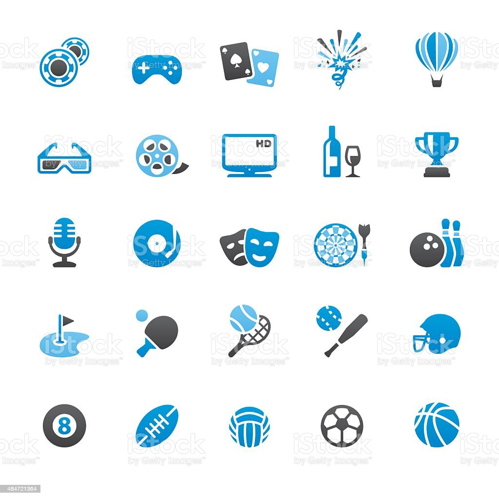 Sports and Entertainment related vector icons vector art illustration