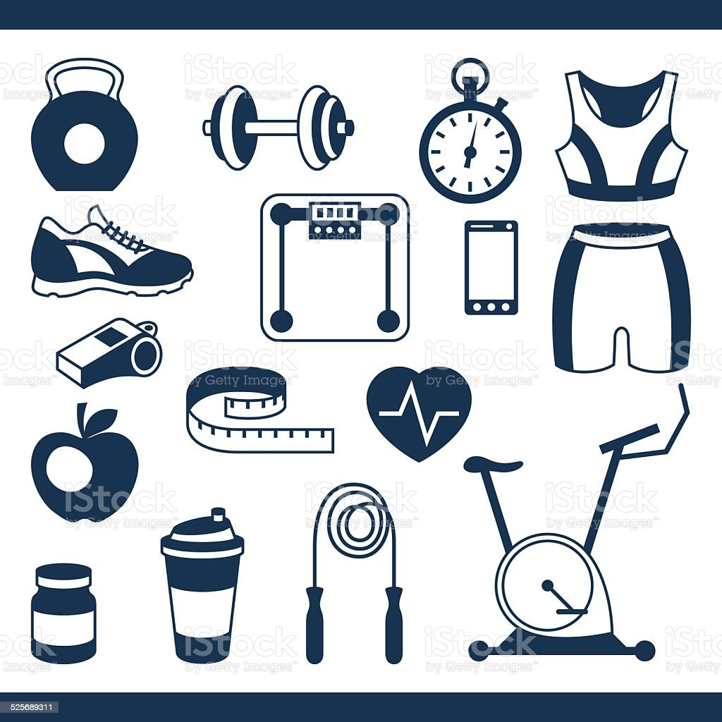 Sports and fitness icons set in flat style. vector art illustration