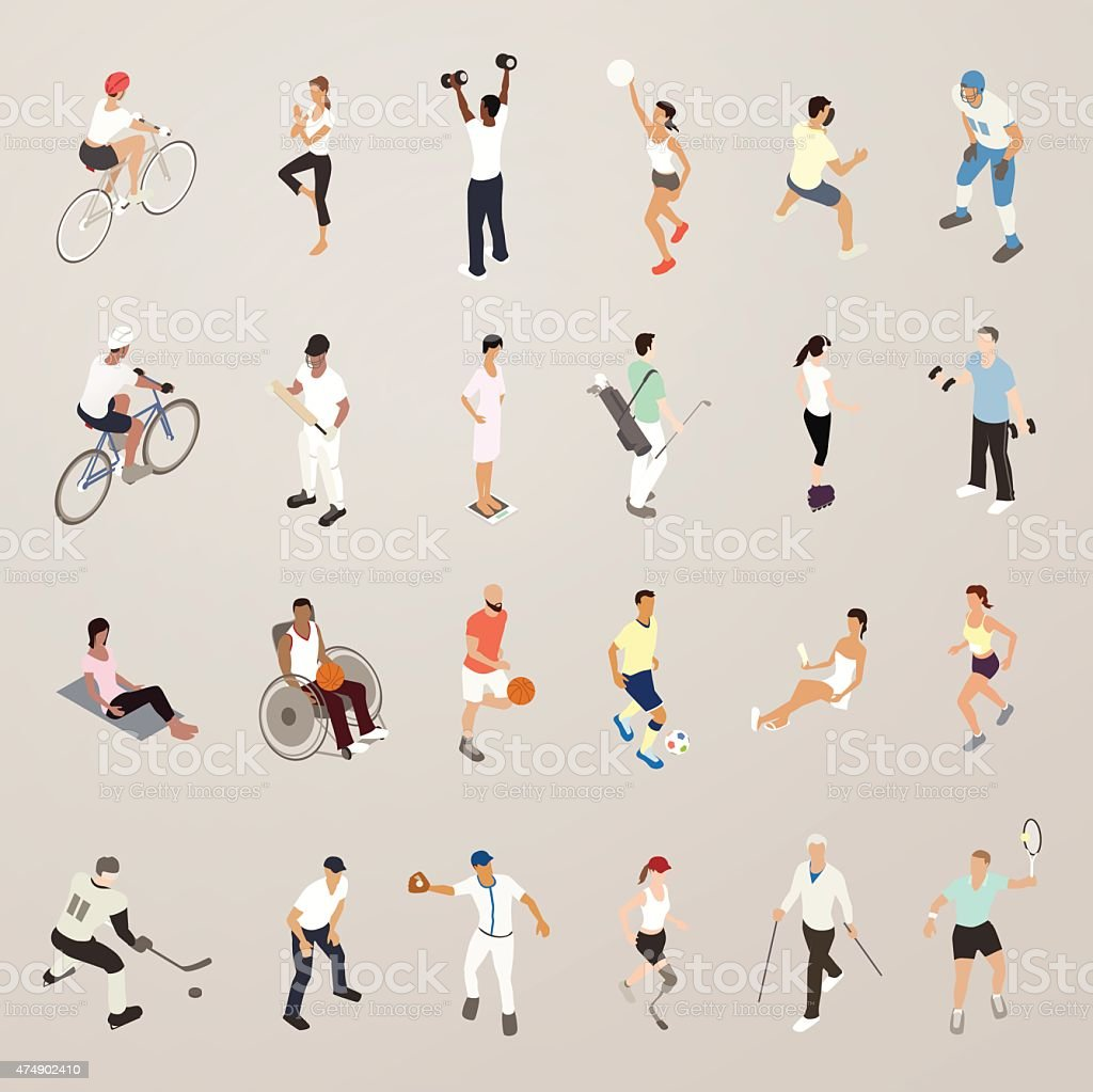 Sports and Fitness People - Flat Icons Illustration vector art illustration