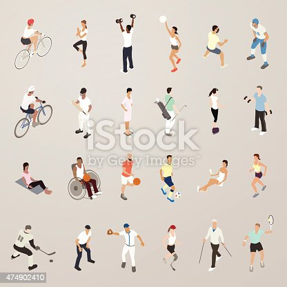 Sports and fitness people illustration