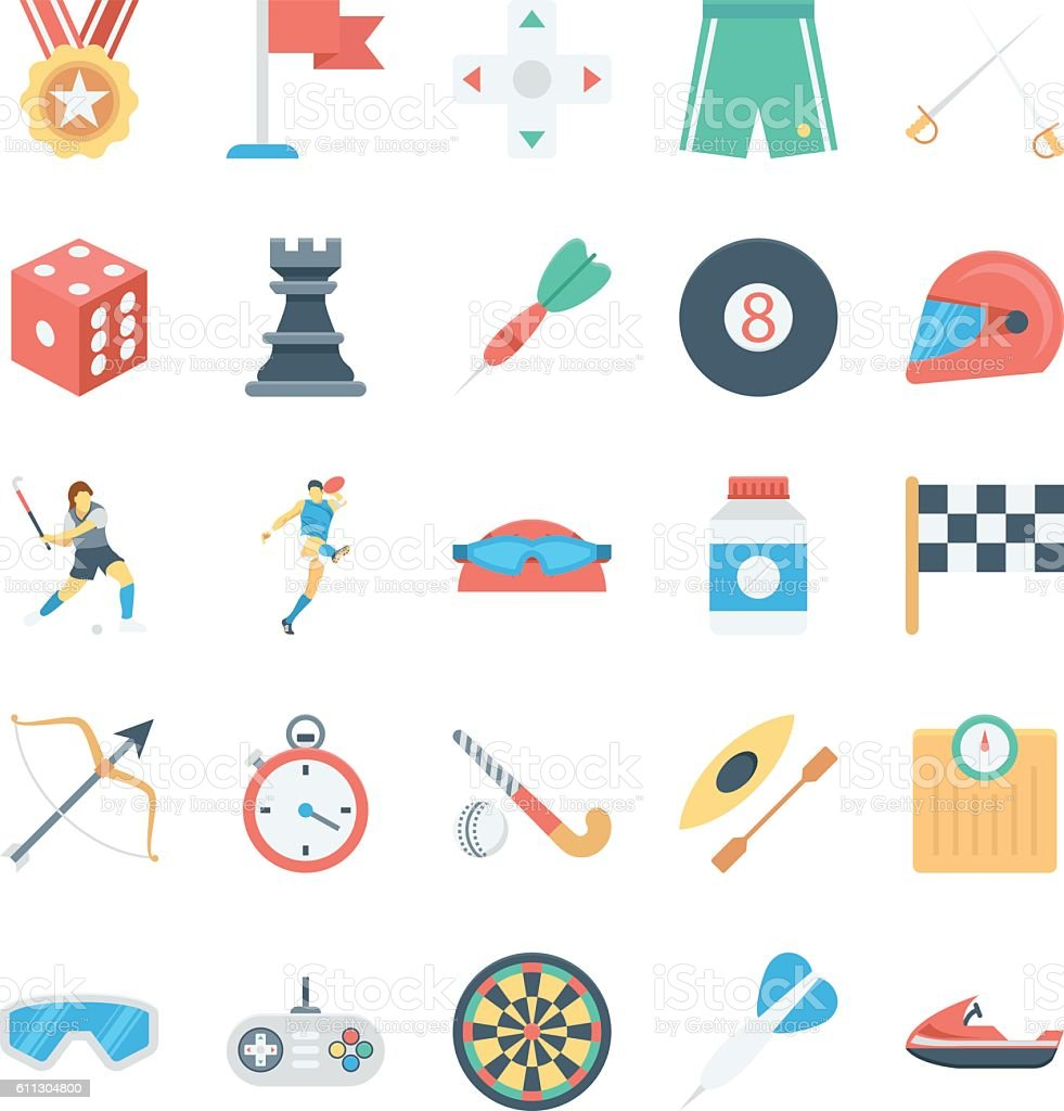 Sports and Games Colored Vector Icons 3 vector art illustration