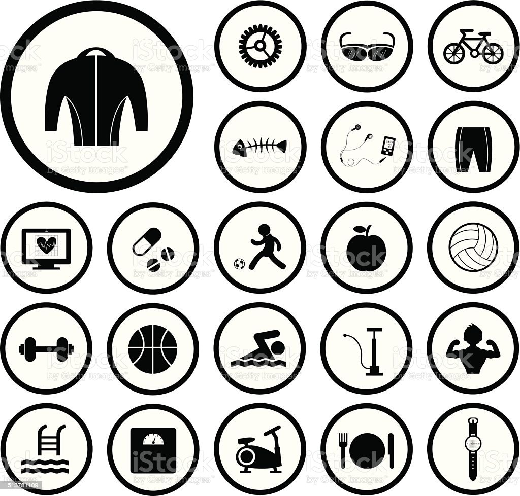 sports and healthy icons set vector art illustration
