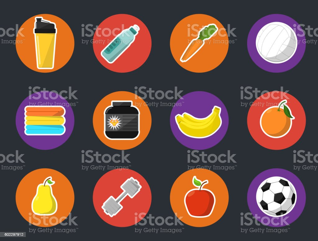 Sports and nutrition icons set vector art illustration