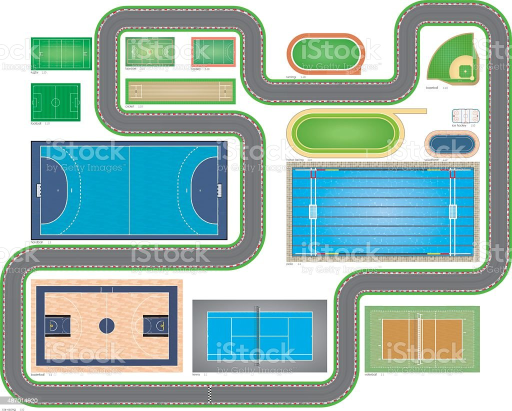 Sports Areas Proportional Dimensions vector art illustration