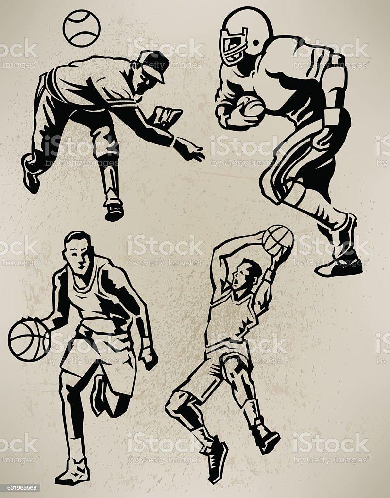 Sports Athletes - Football, Baseball, Basketball, Retro Style vector art illustration