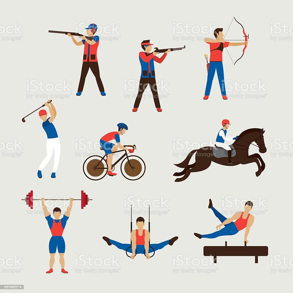 Sports Athletes, Men Set vector art illustration