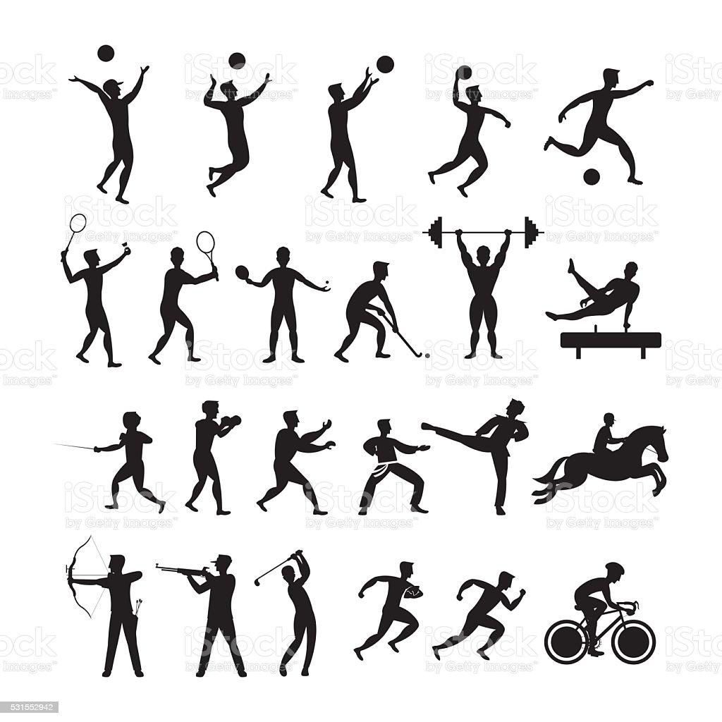 Sports Athletes, Men Symbol Silhouette Set vector art illustration