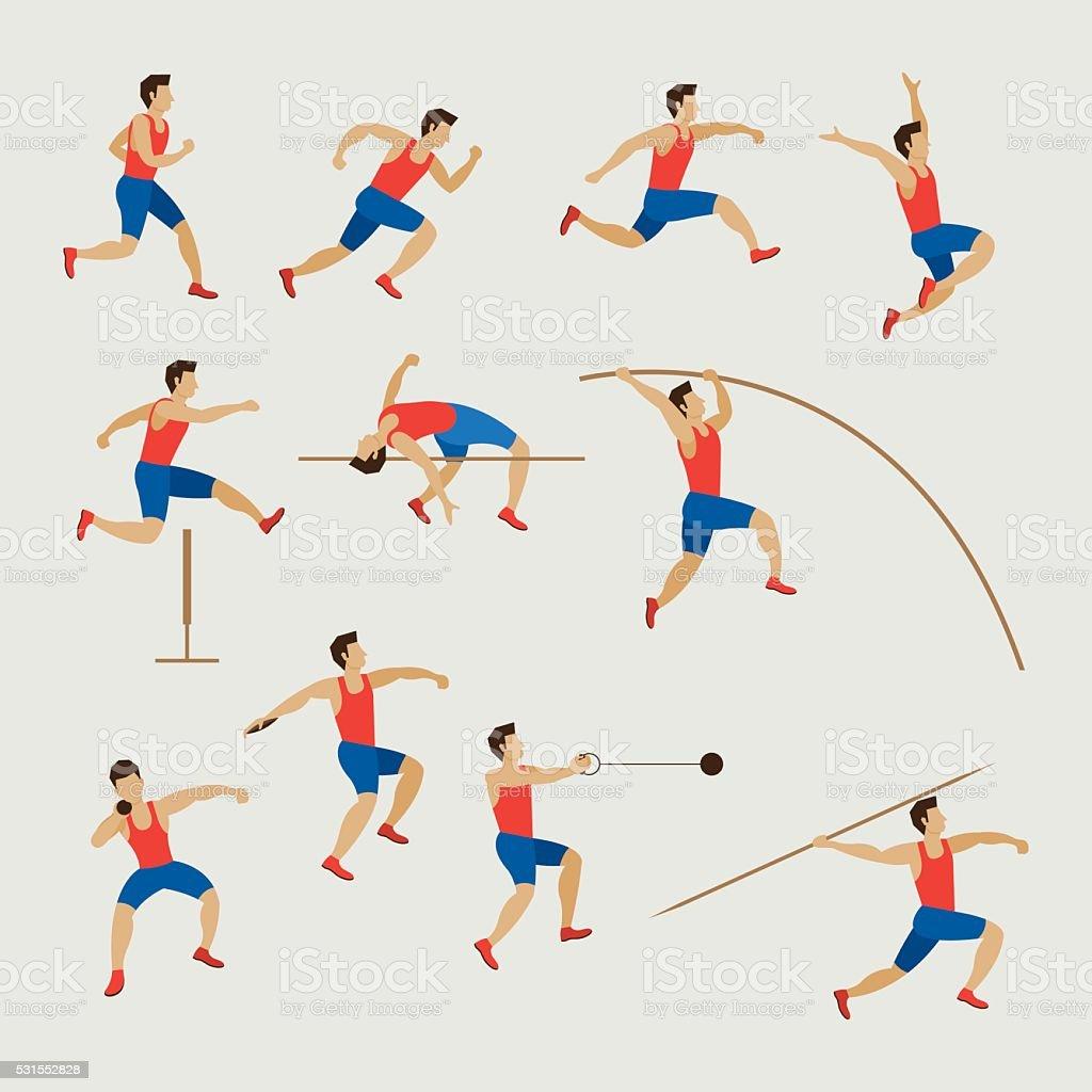 Sports Athletes, Track and Field, Men Set vector art illustration