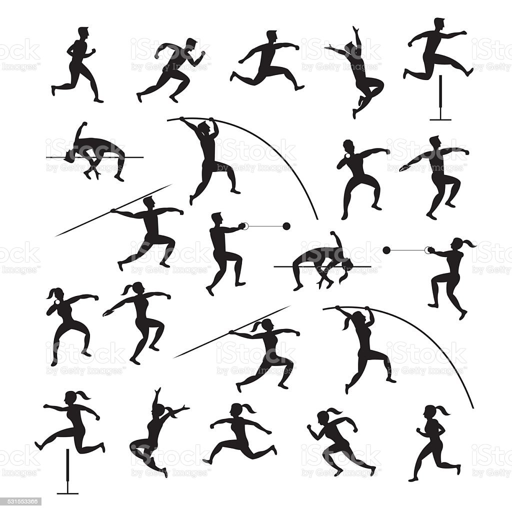 Sports Athletes, Track and Field, Silhouette Set vector art illustration