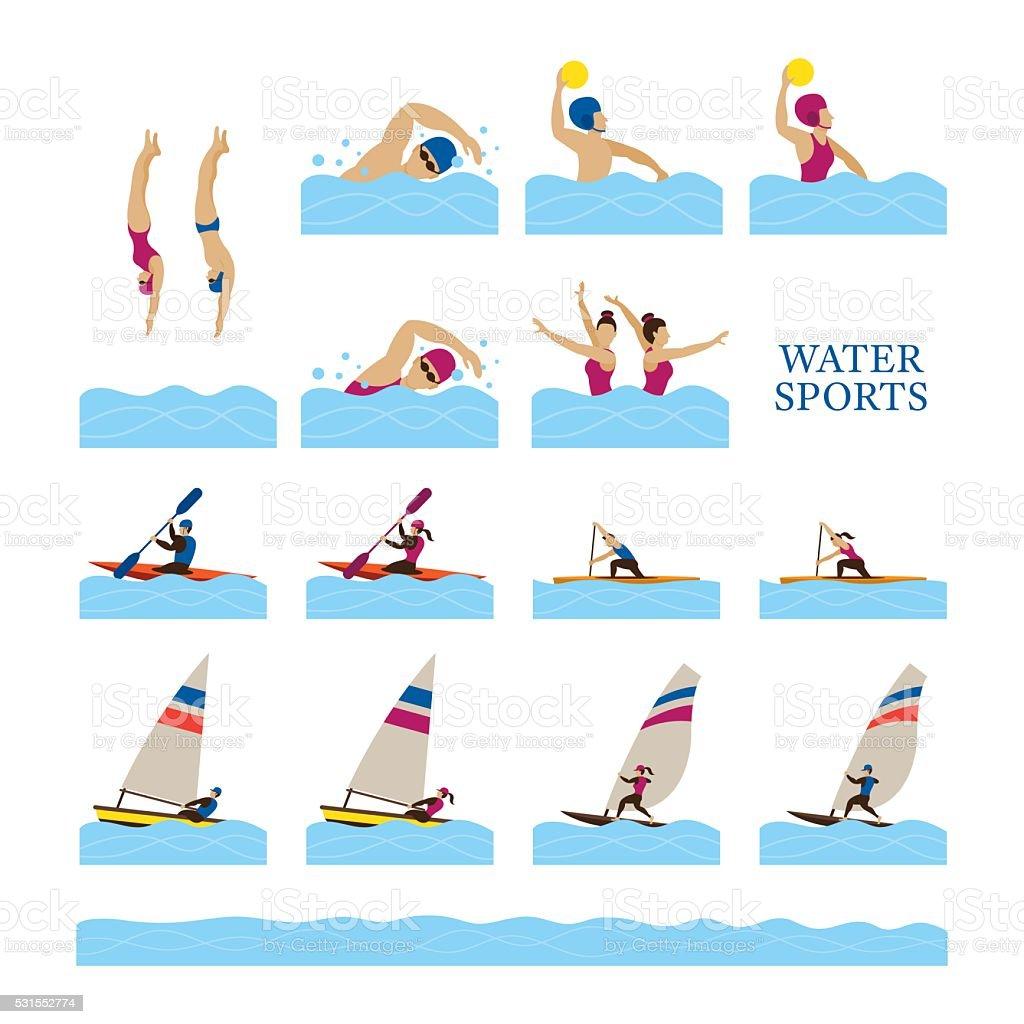 Sports Athletes, Water Sports People Action Set vector art illustration